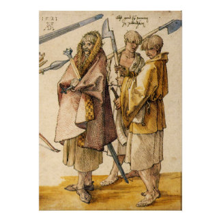 One Gallòglach and Two Kerns - Albrecht Dürer Poster