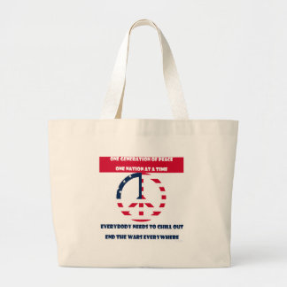 One Generation of Peace, End the Wars Flag Large Tote Bag