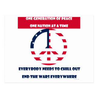One Generation of Peace, End the Wars Flag Postcard