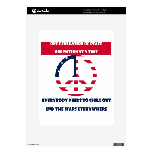 One Generation of Peace, End the Wars Flag Skins For iPad
