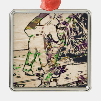 One Giant Leap For Mankind...spacewalk watercolor Square Metal Christmas Ornament