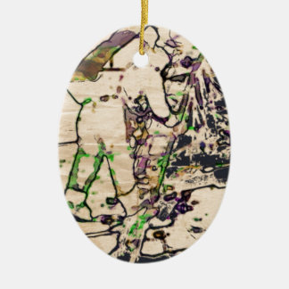 One Giant Leap For Mankind...spacewalk watercolor Double-Sided Oval Ceramic Christmas Ornament