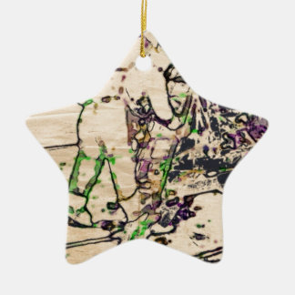 One Giant Leap For Mankind...spacewalk watercolor Double-Sided Star Ceramic Christmas Ornament
