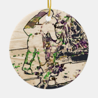 One Giant Leap For Mankind...spacewalk watercolor Double-Sided Ceramic Round Christmas Ornament
