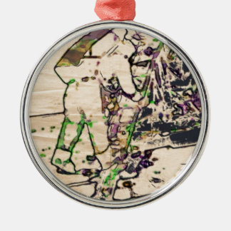 One Giant Leap For Mankind...spacewalk watercolor Round Metal Christmas Ornament