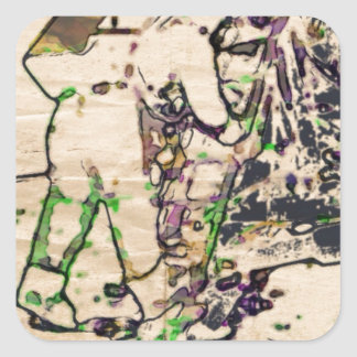 One Giant Leap For Mankind...spacewalk watercolor Square Sticker