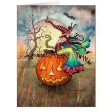 One Giant Pumpkin Halloween Witch Art Card