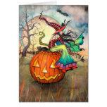 One Giant Pumpkin Witch Cat Halloween Art Greeting Card