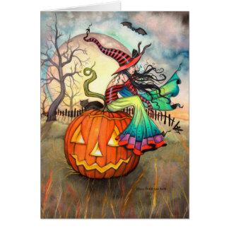 One Giant Pumpkin Witch Cat Halloween Art Greeting Card