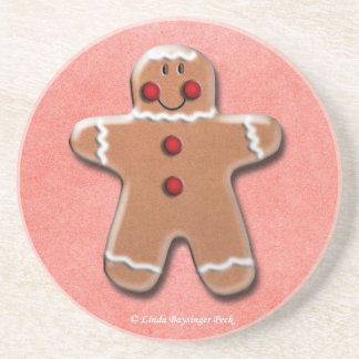 One Gingerbread Cookie Sandstone Coaster