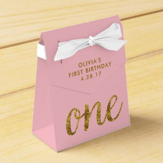 One Glitter  1st Birthday Pink and Gold Favor Box