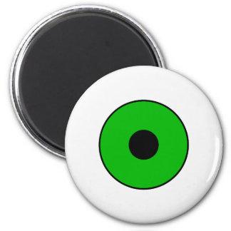 One Green Eye 2 Inch Round Magnet