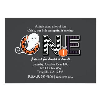 ONE Halloween Fall 1st Birthday Party Invitation