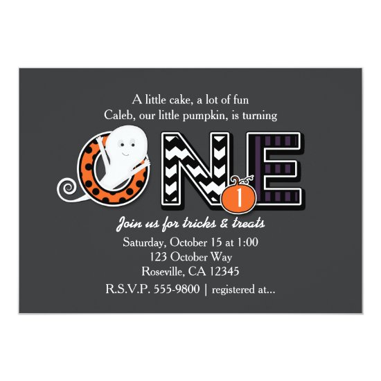 ONE Halloween Fall 1st Birthday Party Invitation