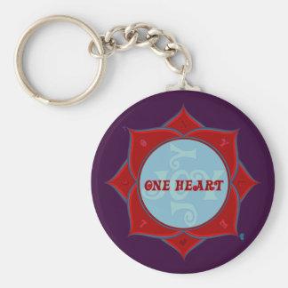 One Heart Lotus Keychain