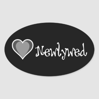 One Heart - Newlywed - Black & White Oval Sticker
