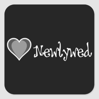 One Heart - Newlywed - Black & White Square Sticker