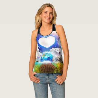 One Heart Women's All-Over Print Tank Tee