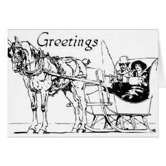 One Horse Open Sleigh Card