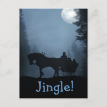 One Horse Open Sleigh Postcard Xmas Holiday