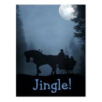 One Horse Open Sleigh Postcard Xmas Holiday