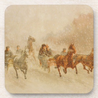 One Horse Open Sleigh Race Set of Cork Coasters