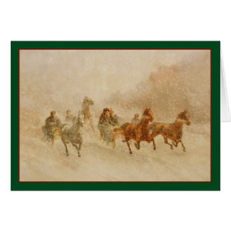 One Horse Open Sleigh Race Vintage Holiday Card