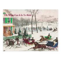 One Horse Open Sleigh Vintage Christmas Postcard