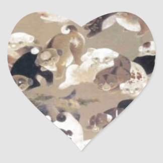 One Hundred Dogs by Ito Jakuchu Heart Sticker