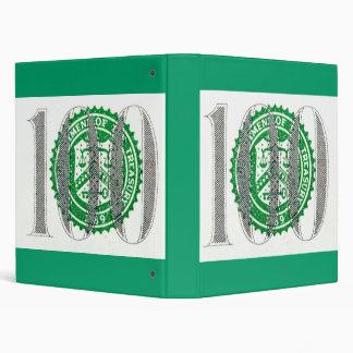 One Hundred Dollar Bill 3 Ring Binder