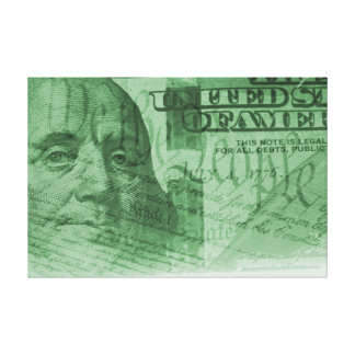 One hundred dollar bill and US constitution Canvas Print