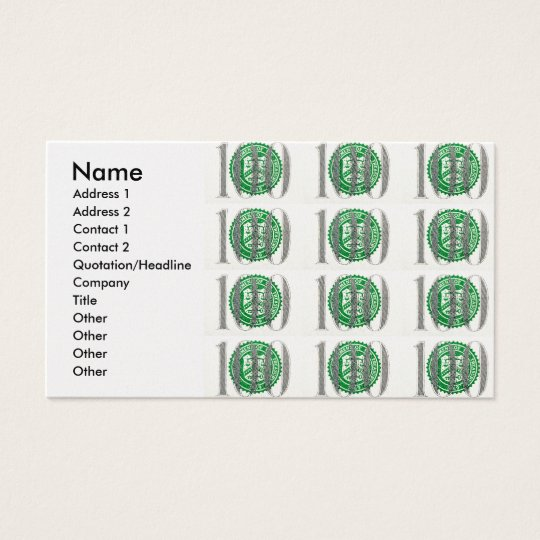 One Hundred Dollar Bill Business Card