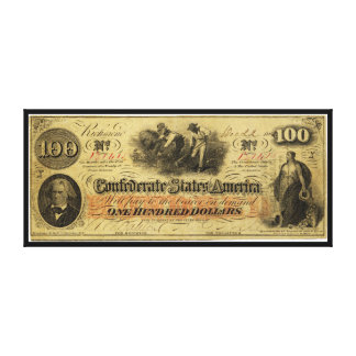 One Hundred Dollars Confederate States of America Canvas Print