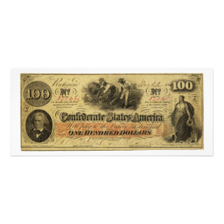 One Hundred Dollars Confederate States of America Invite