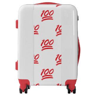 one hundred emoji luggage