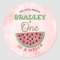 One In A Melon 1st Birthday Classic Round Sticker