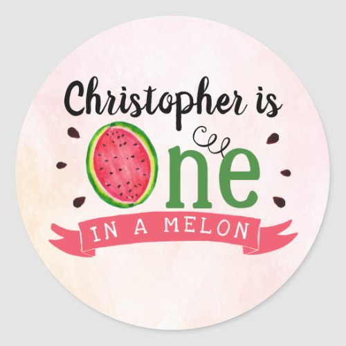 One In A Melon 1st Birthday Party Favor Classic Round Sticker