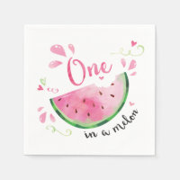 One in a Melon 1st Birthday Party Napkins