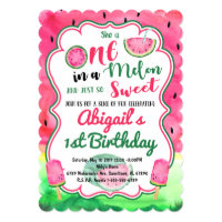 One in a Melon 1st Birthday Watermelon Invitation