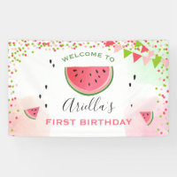 One in a melon birthday banner Watermelon Girl