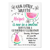 One In A Melon Birthday Invitation
