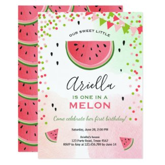 One in a melon Birthday Invitation Watermelon