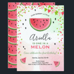 "One in a melon Birthday Invitation Watermelon<br><div class=""desc"">♥ A perfect way to invite your guests to your little one&#39;s birthday party! One in a melon theme for a watermelon party.</div>"