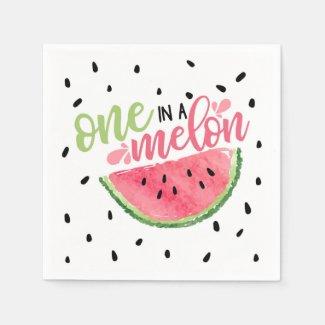 One In a Melon Birthday Napkin