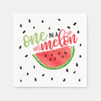 One In a Melon Birthday Napkin - Red