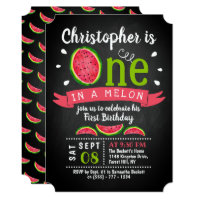 One In A Melon Chalkboard 1st Birthday Invitations