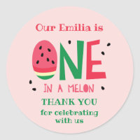 One in a Melon First Birthday Favor Sticker