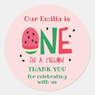 One in a Melon First Birthday Favor Sticker
