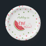 "One in a melon First birthday Paper Plates summer<br><div class=""desc"">♥ A perfect addition to your little one&#39;s birthday party! One in a melon birthday party theme with confetti.</div>"