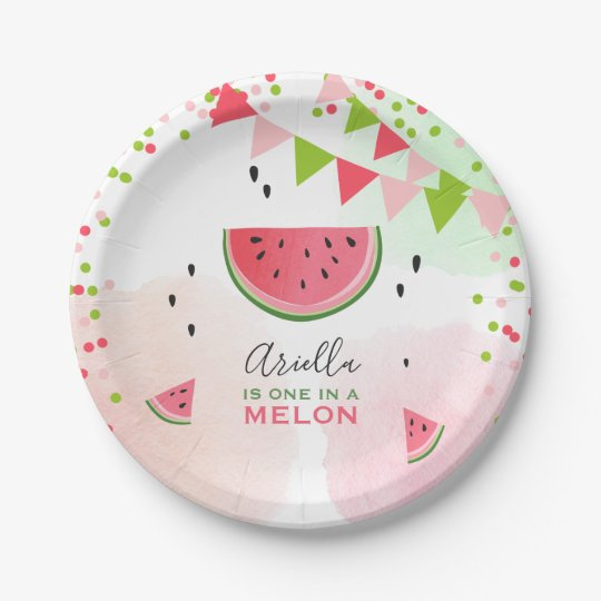 One in a melon First birthday Paper Plates summer  sc 1 st  Zazzle & One in a melon First birthday Paper Plates summer | Zazzle.com